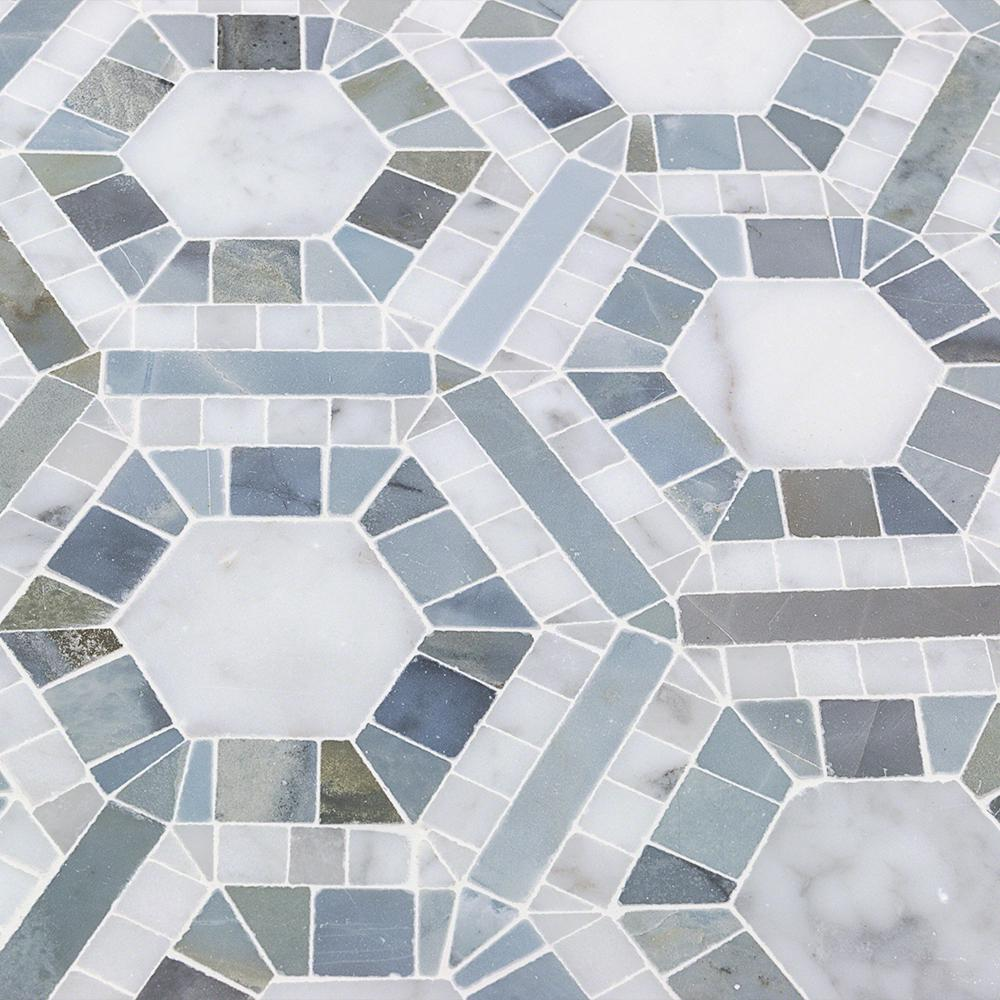 Splashback Tile Kosmos Carrera And Moonstone Hexagon Marble Mosaic 3 In X 6