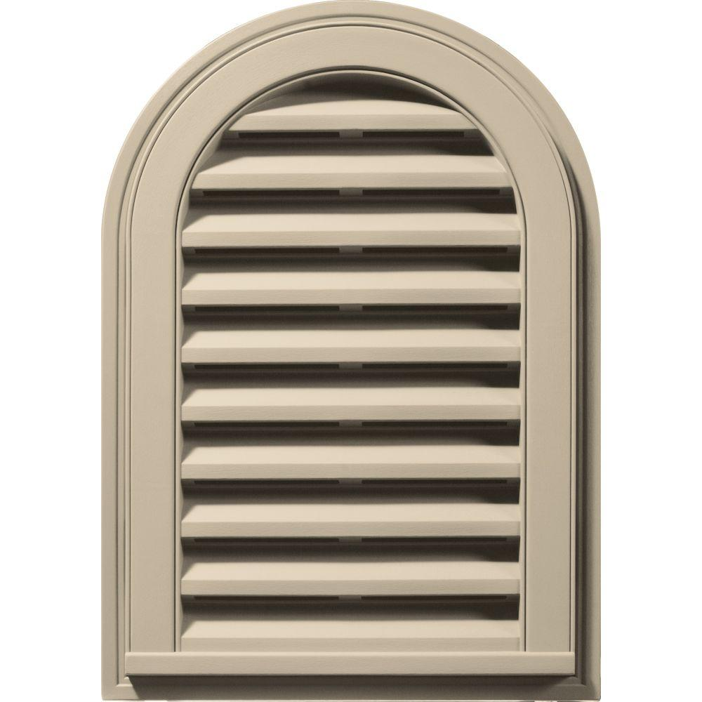 14 in. x 22 in. Round Top Gable Vent in Almond