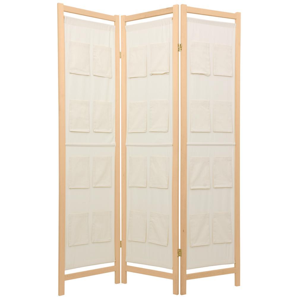 6 ft. Natural 3-Panel Pockets Room Divider