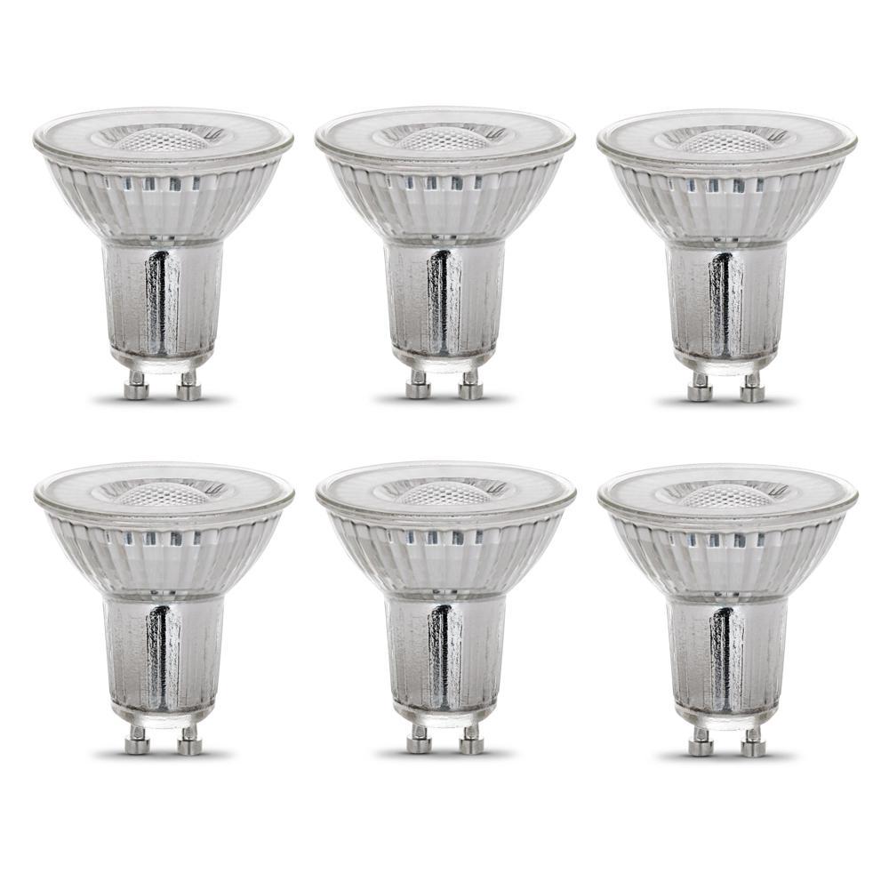 50-Watt Equivalent MR16 GU10 Dimmable Recessed Track Lighting 90+ CRI Flood LED Light Bulb, Bright White (6-Pack)