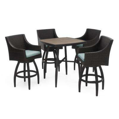 Deco 5-Piece Wicker Square Outdoor Bar Height Dining Set with Sunbrella Spa Blue Cushions