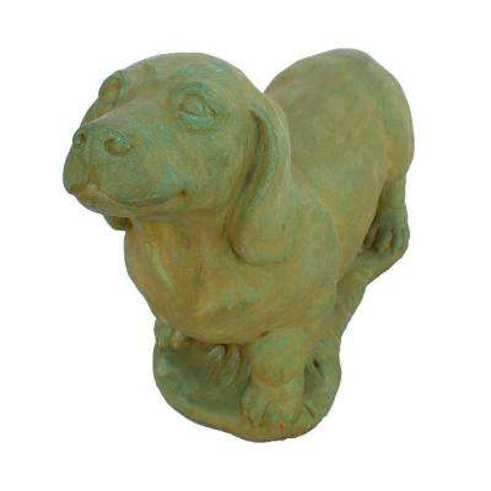 Cast Stone Dachshund Garden Statue - Weathered Bronze