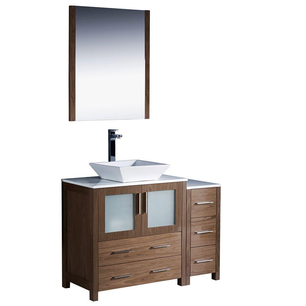 Fresca Torino 42 in. Vanity in Walnut Brown with Glass Stone Vanity Top in White and Mirror