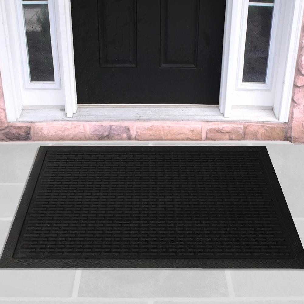 OTTOMANSON Ottomanson Charcoal 24 in. x 36 in. Scraping Natural Rubber Door Mat, Grey