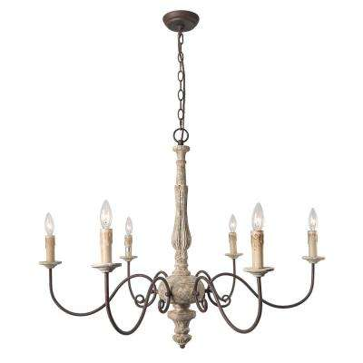 6-Light Gray Shabby Chic French Country Chandelier