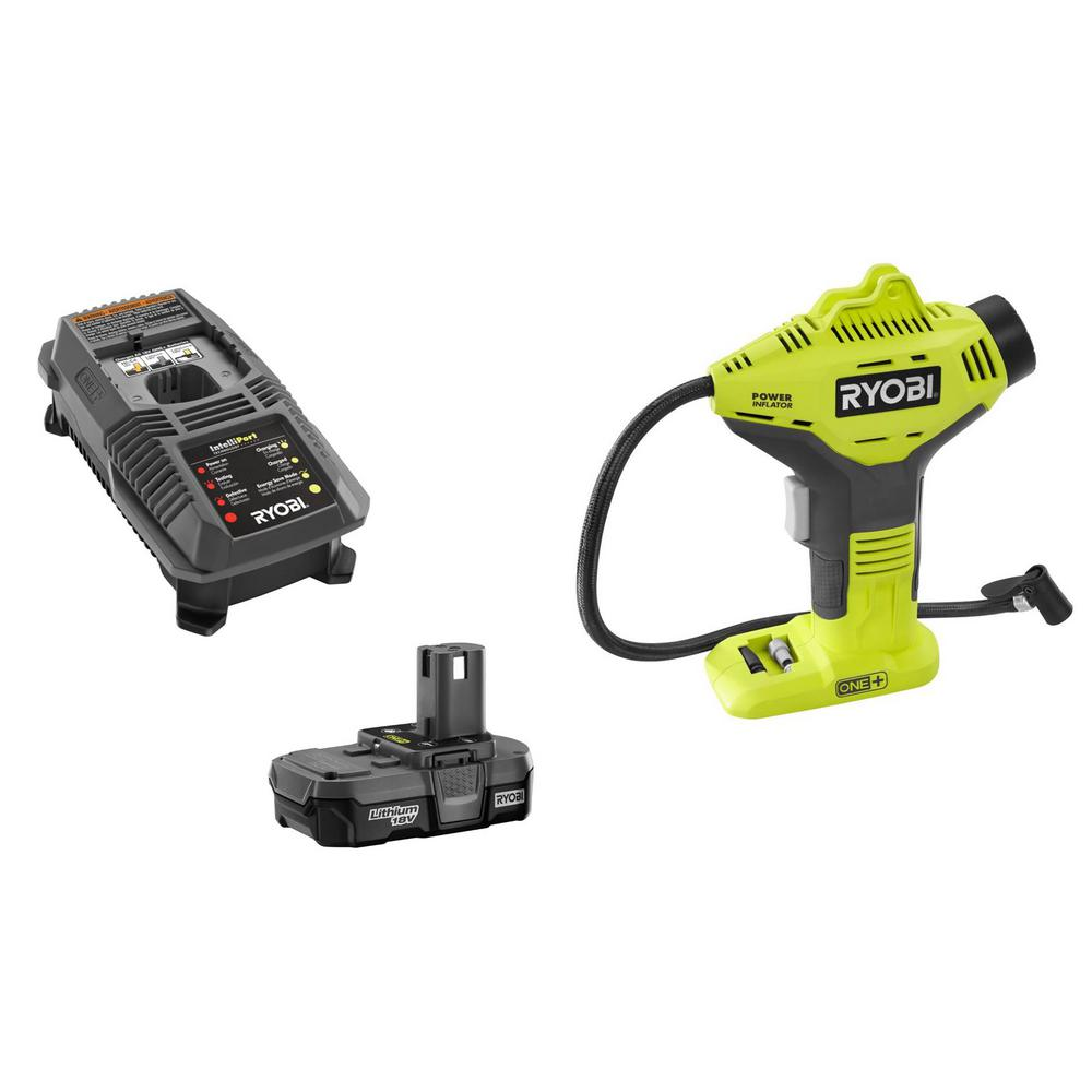 ryobi 18 volt one lithium ion cordless power inflator kit. Black Bedroom Furniture Sets. Home Design Ideas