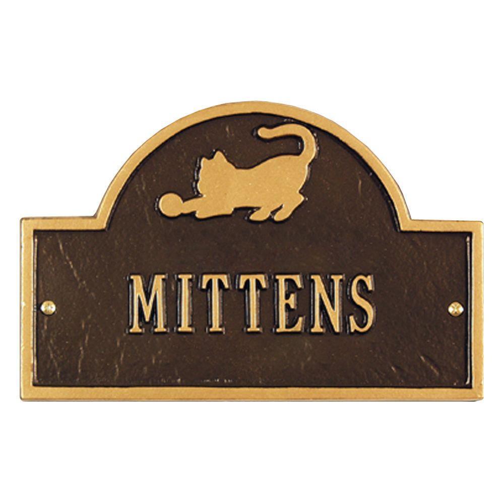 Pet Cat Mini Arch Bronze/Gold One Line Wall Marker