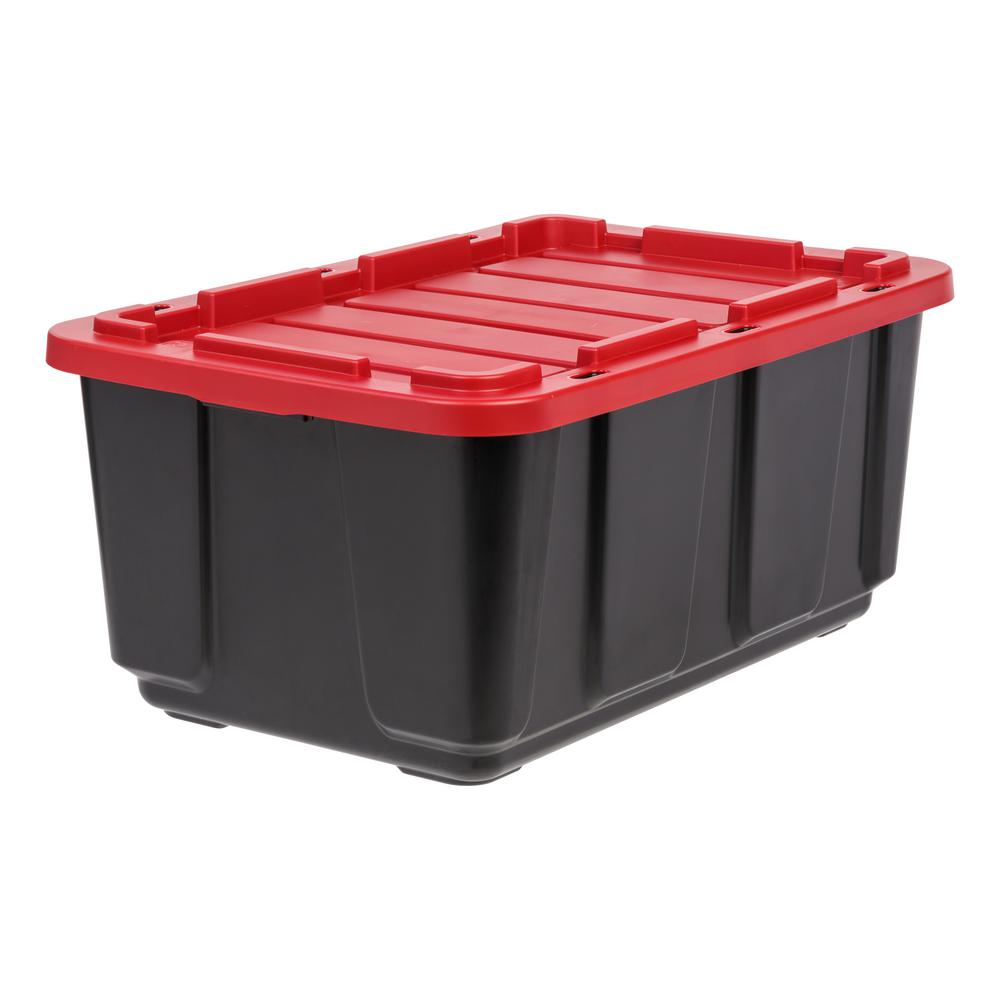 27 Gal. Storage Tote in Black with Red Lid