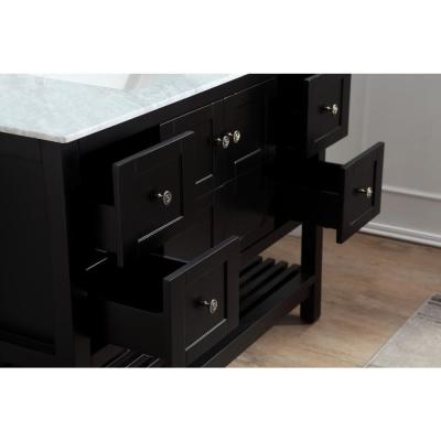 Montaigne 48 in. W x 22 in. D Bath Vanity in Black with Marble Vanity Top in Carrara White with White Basin and Mirror