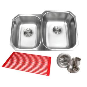 Kingsman Hardware Undermount 18 Gauge Stainless Steel 32 In X 20 3 4 In X 9 In Deep 40 60 Double Kitchen Sink With Brushed Finish Combo 18 903r Pk The Home Depot