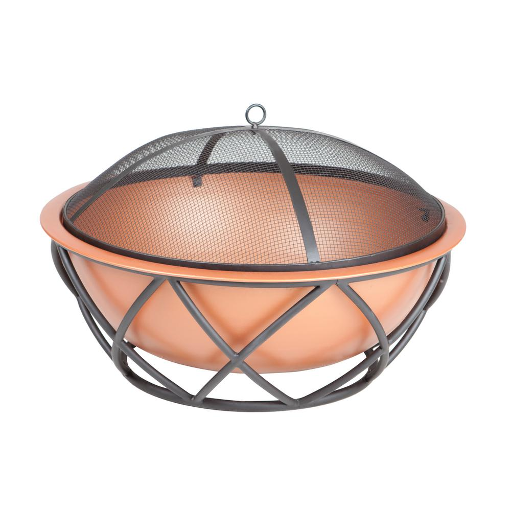 Barzelonia 26 in. Round Steel Fire Pit in Copper