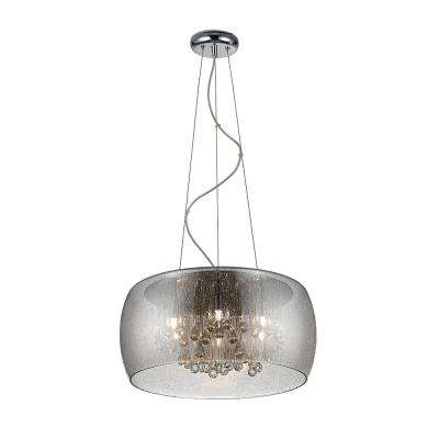 5-Light Chrome Glass with Clear Glass Beads LED Pendant