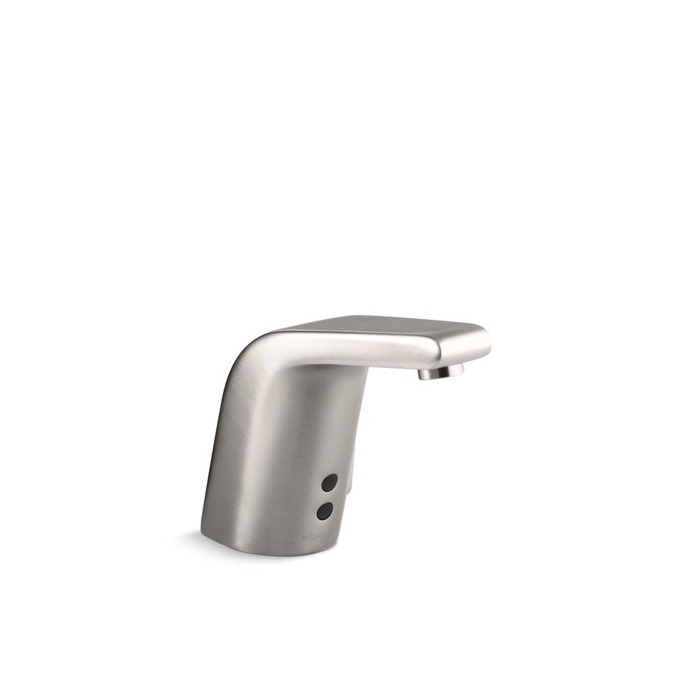 Sculpted Battery-Powered Single Hole Touchless Bathroom Faucet in Vibrant Stainless
