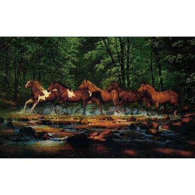 10.5 in. x 6 in. Running Horses Chair Rail Wall Mural