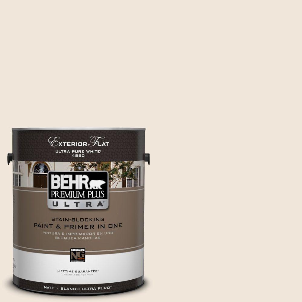 BEHR Premium Plus Ultra 1-Gal. #UL130-13 Ballet White Flat Exterior Paint