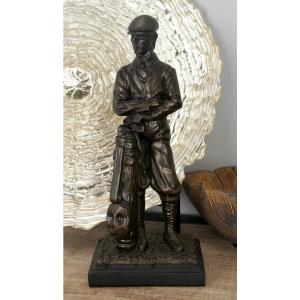 Polystone Golfer with Golf Bag and Clubs Sculpture on Rectangular Base by
