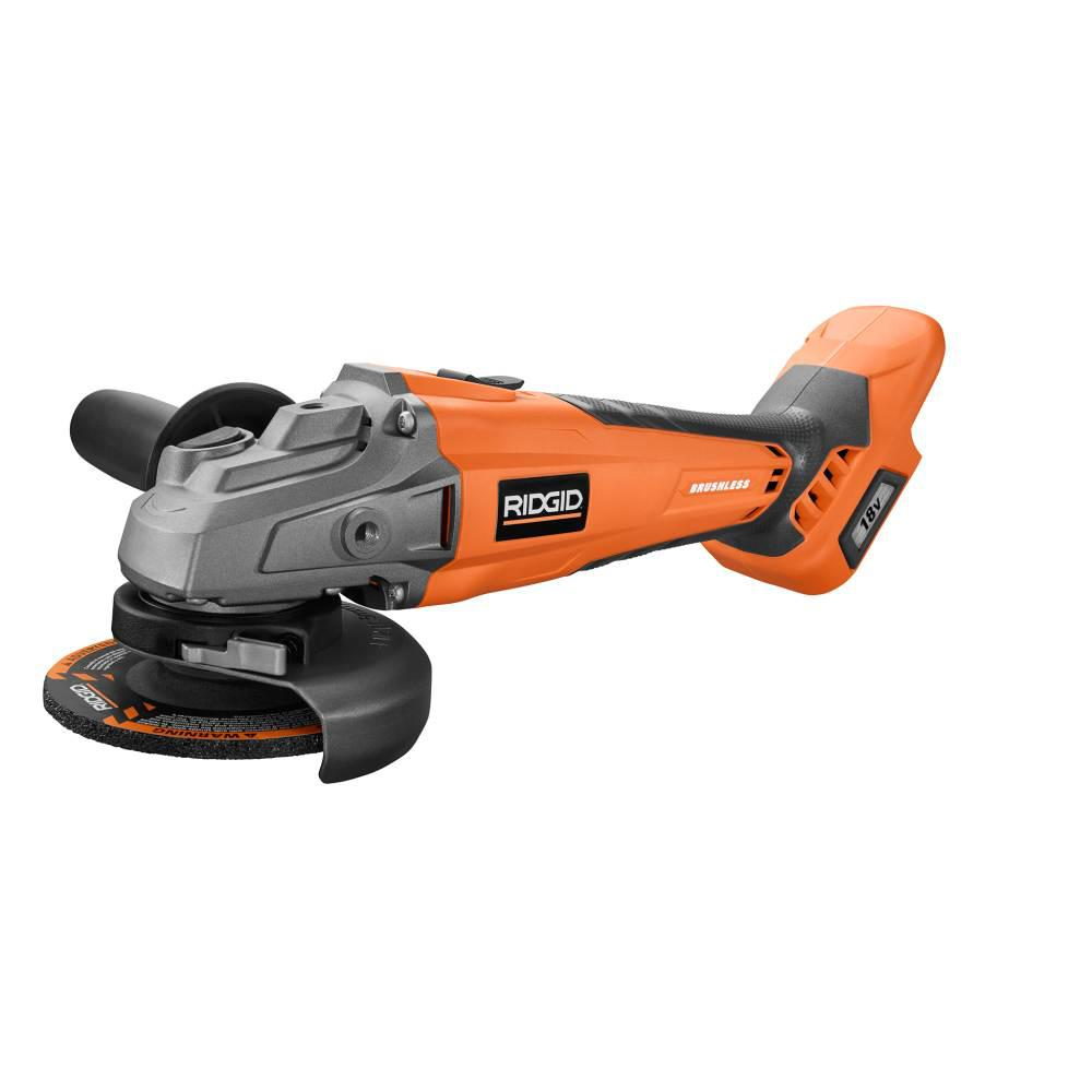RIDGID 18-Volt Cordless Brushless 4-1/2 in. Angle Grinder (Tool Only) with Handle and General Purpose Grinding Wheel