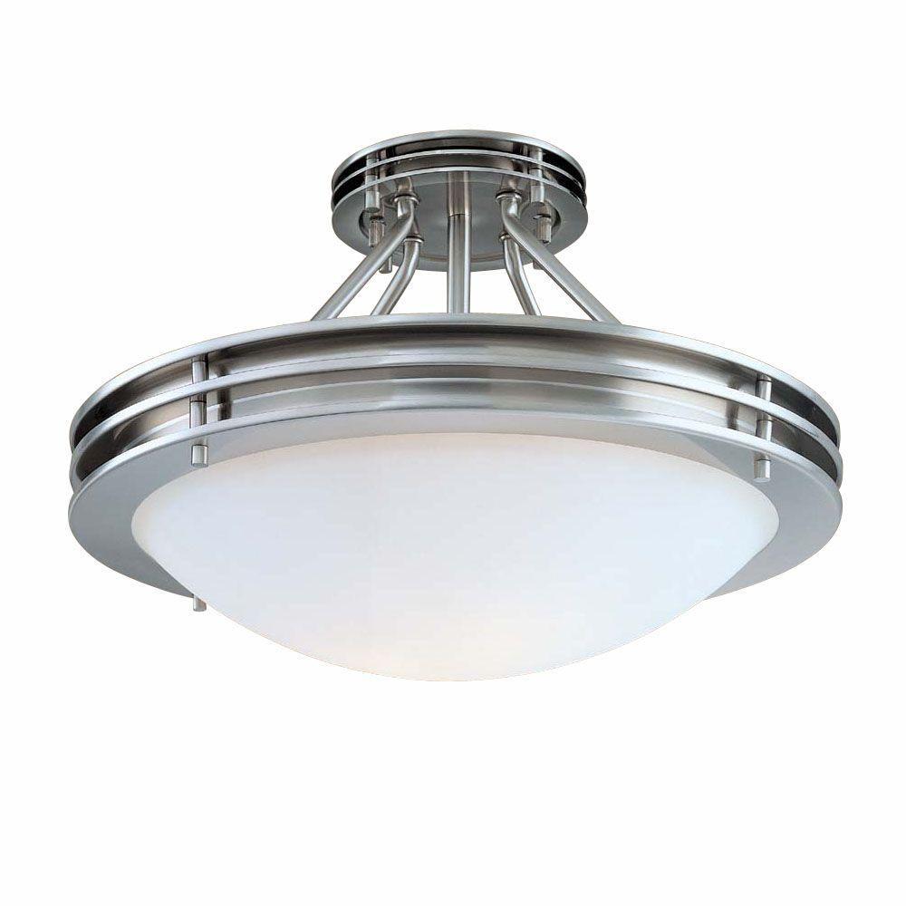 Hampton Bay Lighting Lowes: Hampton Bay 2-Light Brushed Nickel Semi-Flush Mount Light