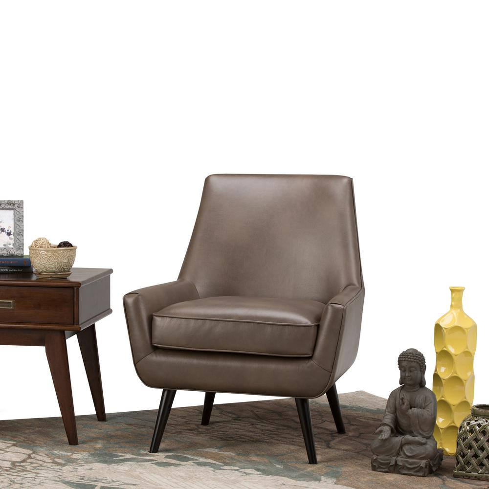 Simpli Home Warhol Warm Grey Air Leather Accent Chair