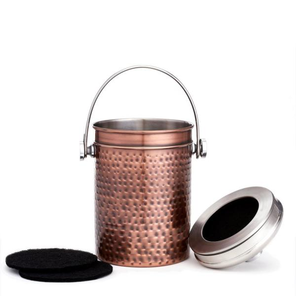 Old Dutch 4 Qt. Hammered Antique Copper Compost Bin with 3 Charcoal Filters