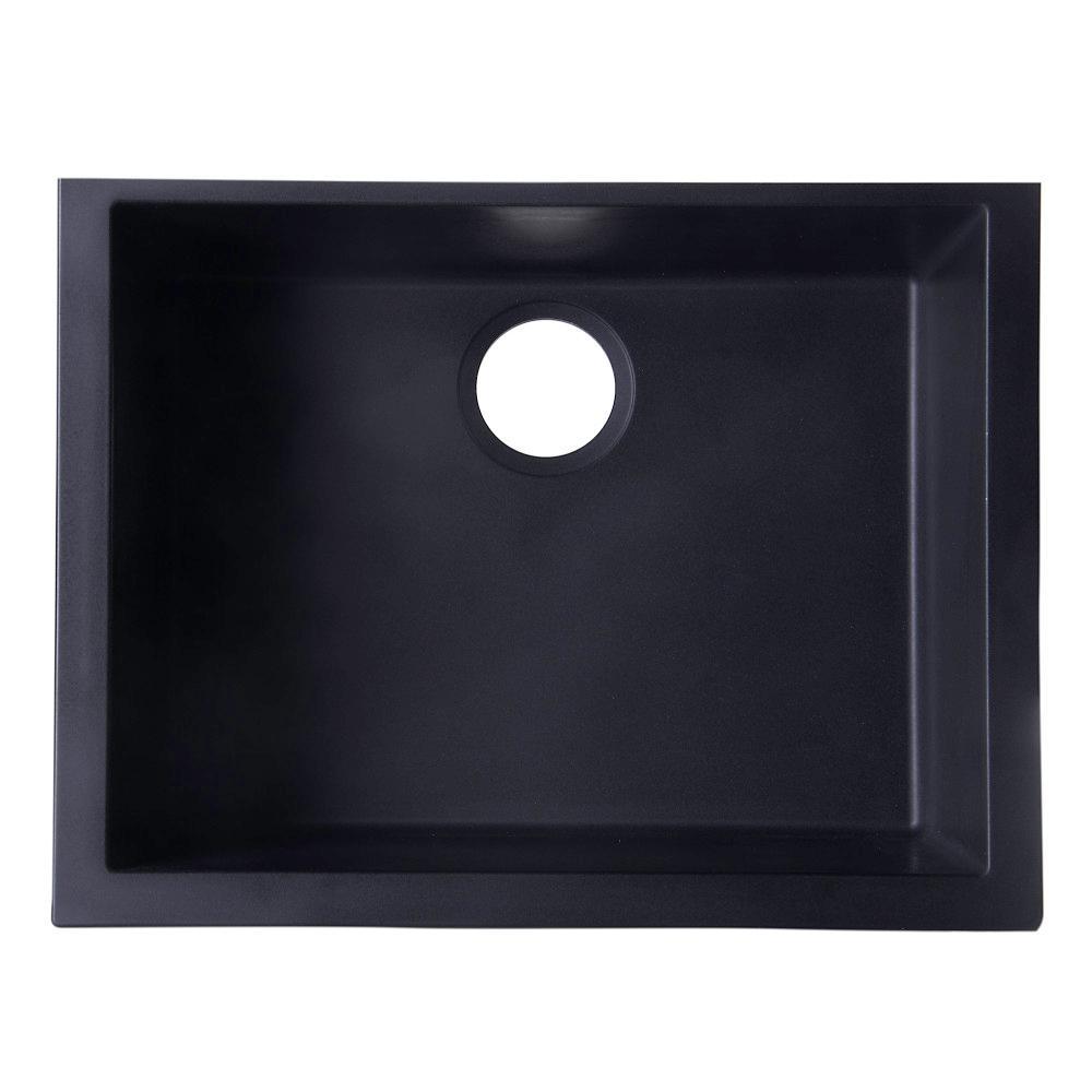 ALFI BRAND Undermount Granite Composite 23.63 in. Single Bowl Kitchen Sink  in Black