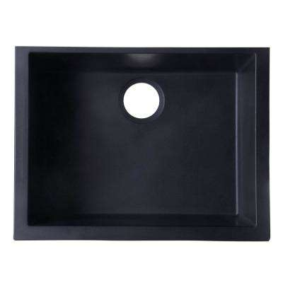 Undermount Granite Composite 23.63 in. Single Bowl Kitchen Sink in Black