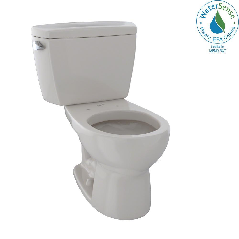 Eco Drake 2-Piece 1.28 GPF Single Flush Round Toilet in Sedona Beige