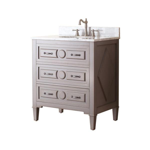 Avanity Kelly 31 In W X 22 In D X 35 In H Vanity In Grayish Blue With Marble Vanity Top In Carrera White And White Basin Kelly Vs30 Gb C The Home Depot