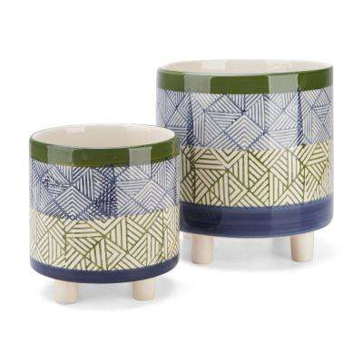 8 in. Dia Geometric Pattern Multi-Color Round Ceramic Footed Planters (2-Pack)
