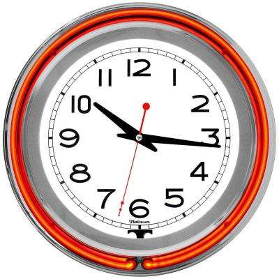 3 in. x 14 in. Orange Double Ring Neon Clock