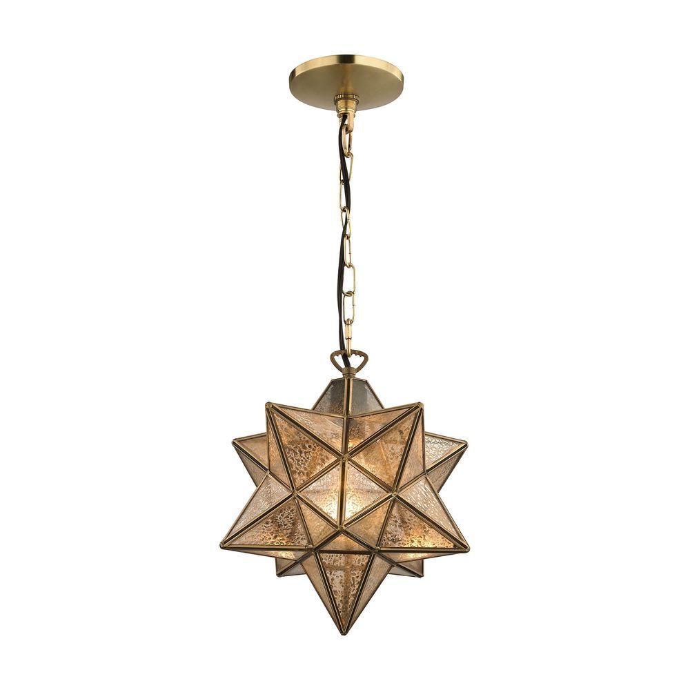 Titan Lighting Moravian Star 1-Light Gold Pendant