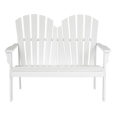 37 in. T White Rockport Wood Loveseat Bench
