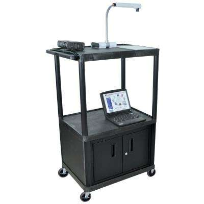 LP 32 in. A/V Cart with Cabinet in Black