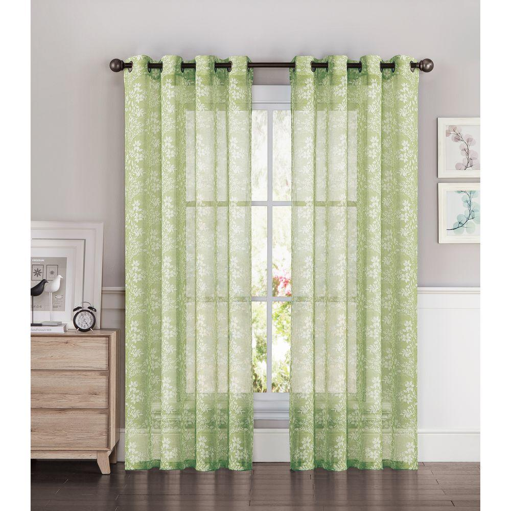 window elements sheer botanica faux linen 54 in w x 84 in l semi sheer grommet extra wide. Black Bedroom Furniture Sets. Home Design Ideas