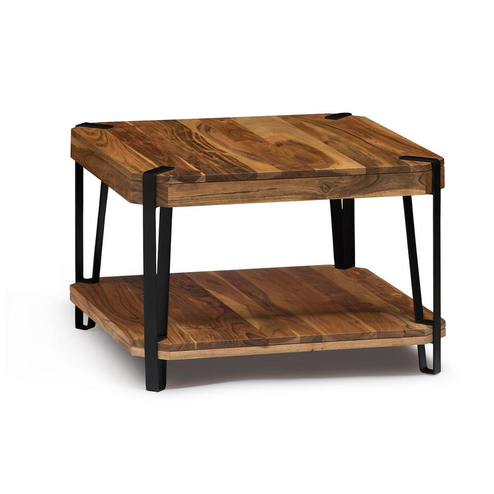 Alaterre Furniture Ryegate Live Edge Brown And Black Natural Wood With Metal Cube Coffee Table