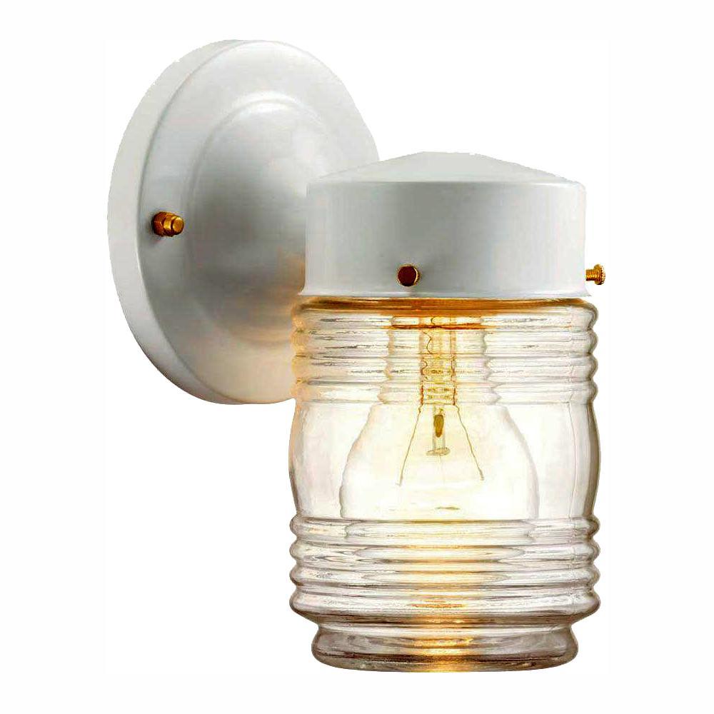 hampton bay 1-Light Outdoor Matte White Jelly-Jar Wall Lantern Sconce