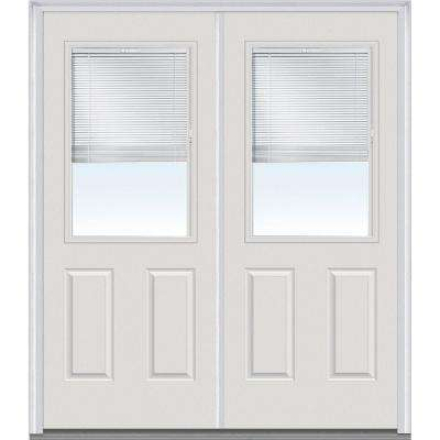 60 in. x 80 in. Internal Blinds Left-Hand Inswing 1/2-Lite Clear Glass 2-Panel Painted Steel Prehung Front Door
