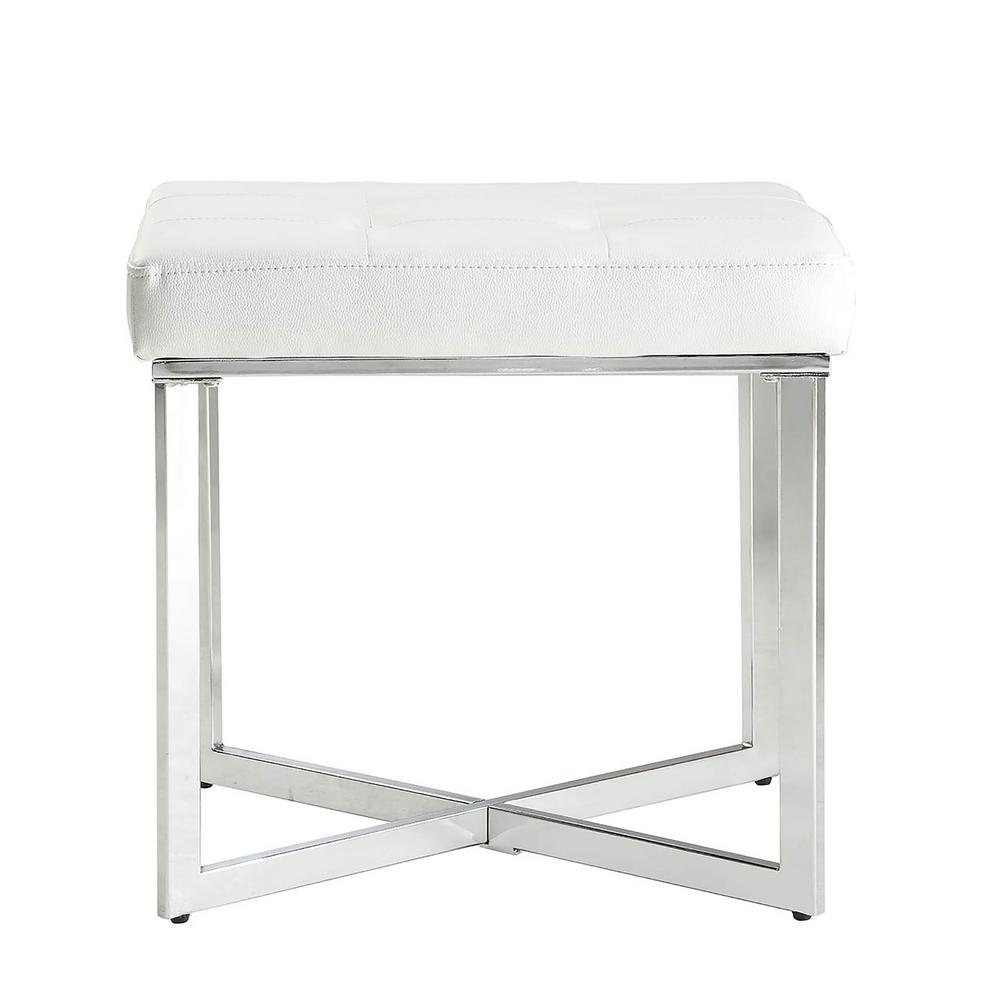 carolina summer vanities white stool p whtchr cottage vanity makeup bench chrome tufted
