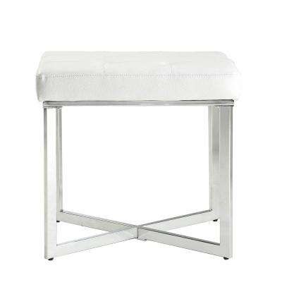Summer White Tufted Vanity Bench