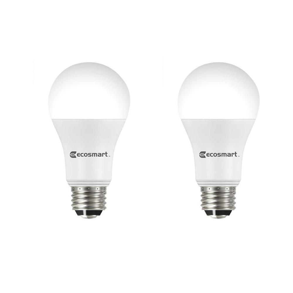 Ecosmart 40 60 100 Watt Equivalent A19 Energy Star 3 Way Led Light Bulb Daylight 2 Pack