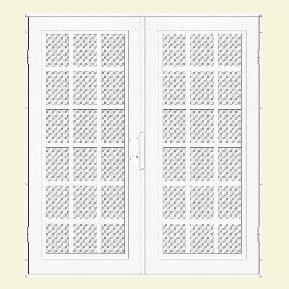 Unique Home Designs 60 in. x 80 in. Classic French White Left-Hand Surface Mount Aluminum Security Door with White Perforated Screen