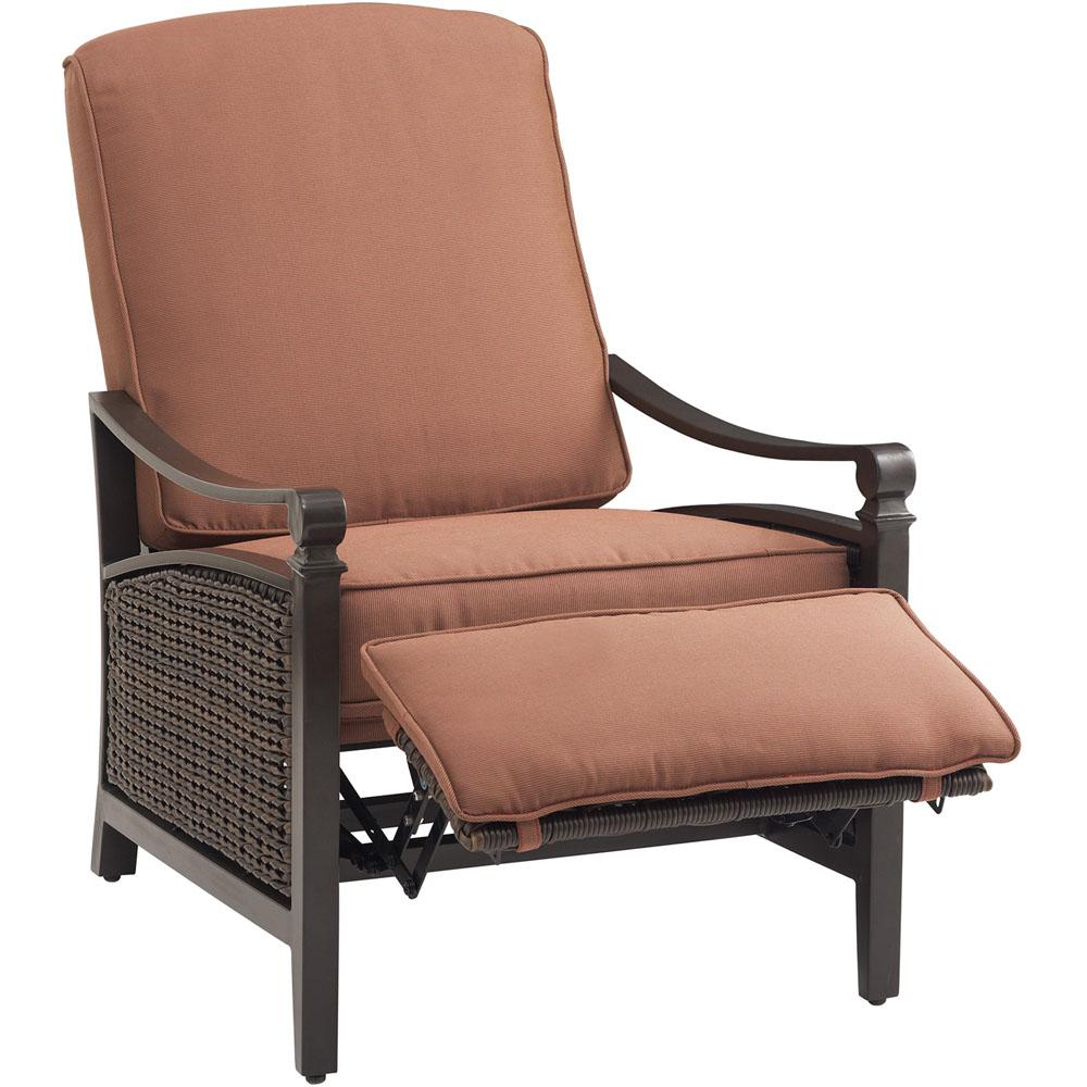 bbaa5cf70ae Carson Espresso All-Weather Wicker Outdoor Luxury Patio Recliner with  Bordeaux Cushion