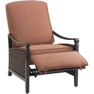 Carson Espresso All-Weather Wicker Outdoor Luxury Patio Recliner with Bordeaux Cushion