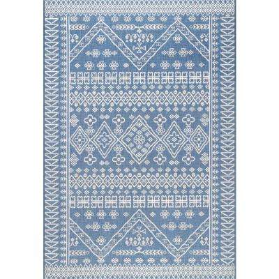 Kandace Outdoor Blue 10 ft. x 14 ft. Area Rug