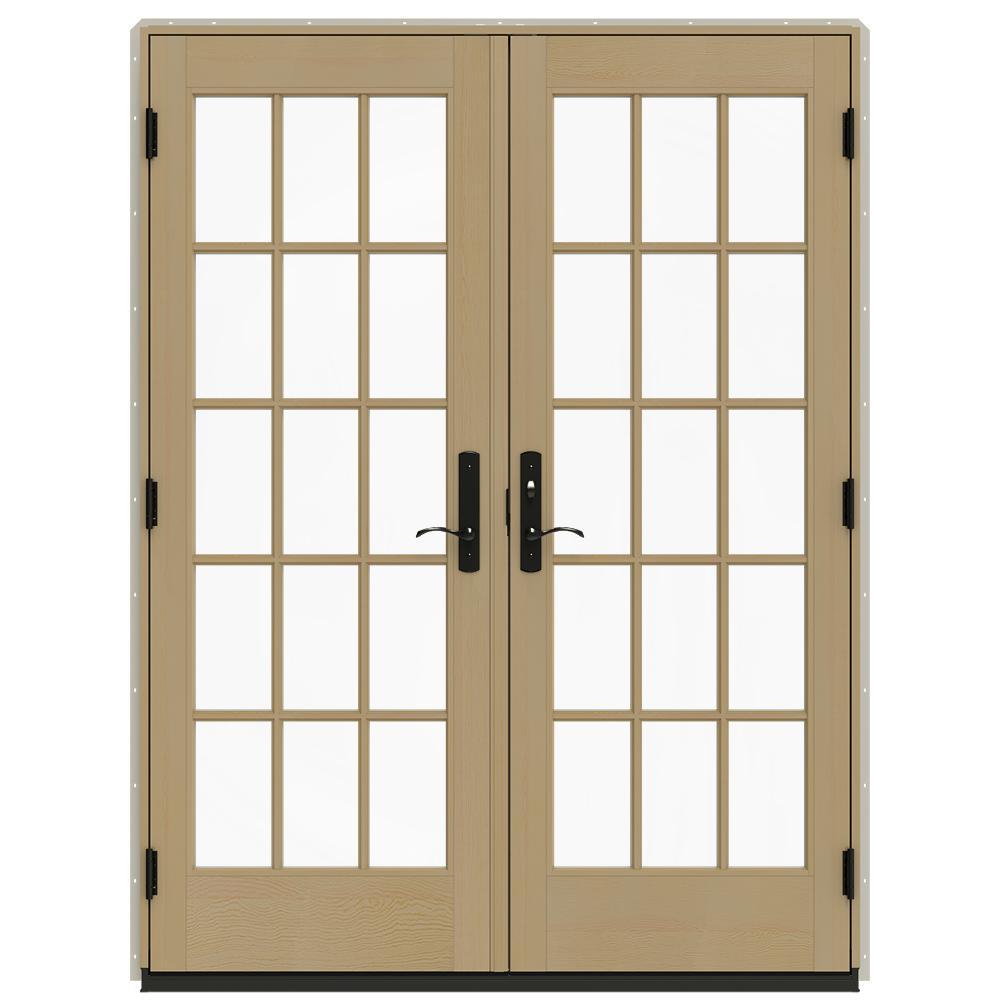 Jeld Wen 60 In X 80 In W 4500 Desert Sand Clad Wood Left Hand 15 Lite French Patio Door W