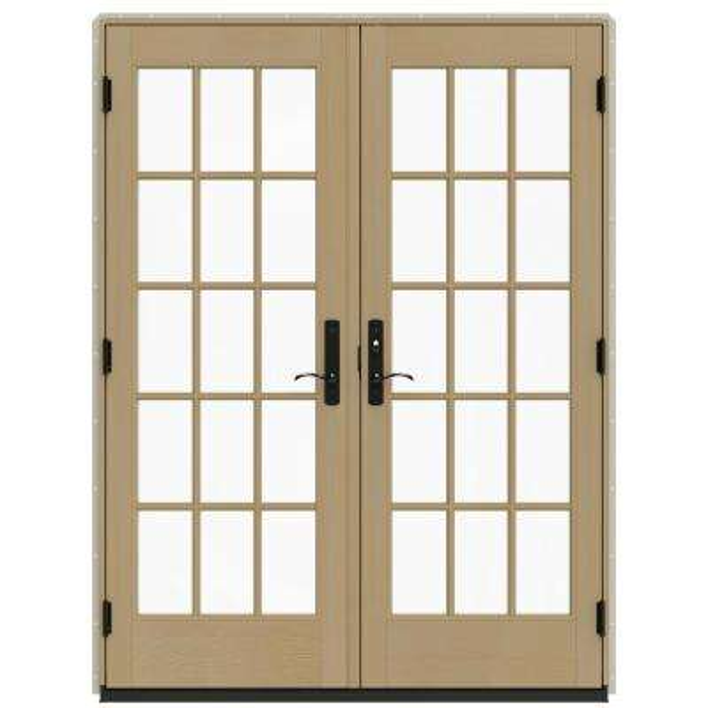 60 in. x 80 in. W-4500 Desert Sand Clad Wood Left-Hand 15 Lite French Patio Door w/Unfinished Interior