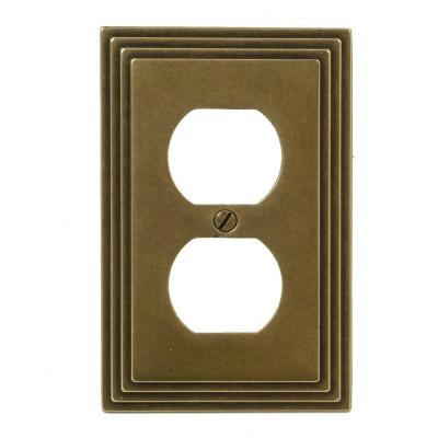 Tiered 1 Gang Duplex Outlet Metal Wall Plate - Rustic Brass (2-Pack)