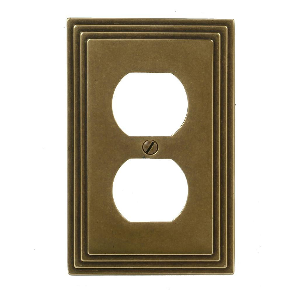 Amerelle Steps 1 Gang Duplex Wall Plate - Rustic Brass