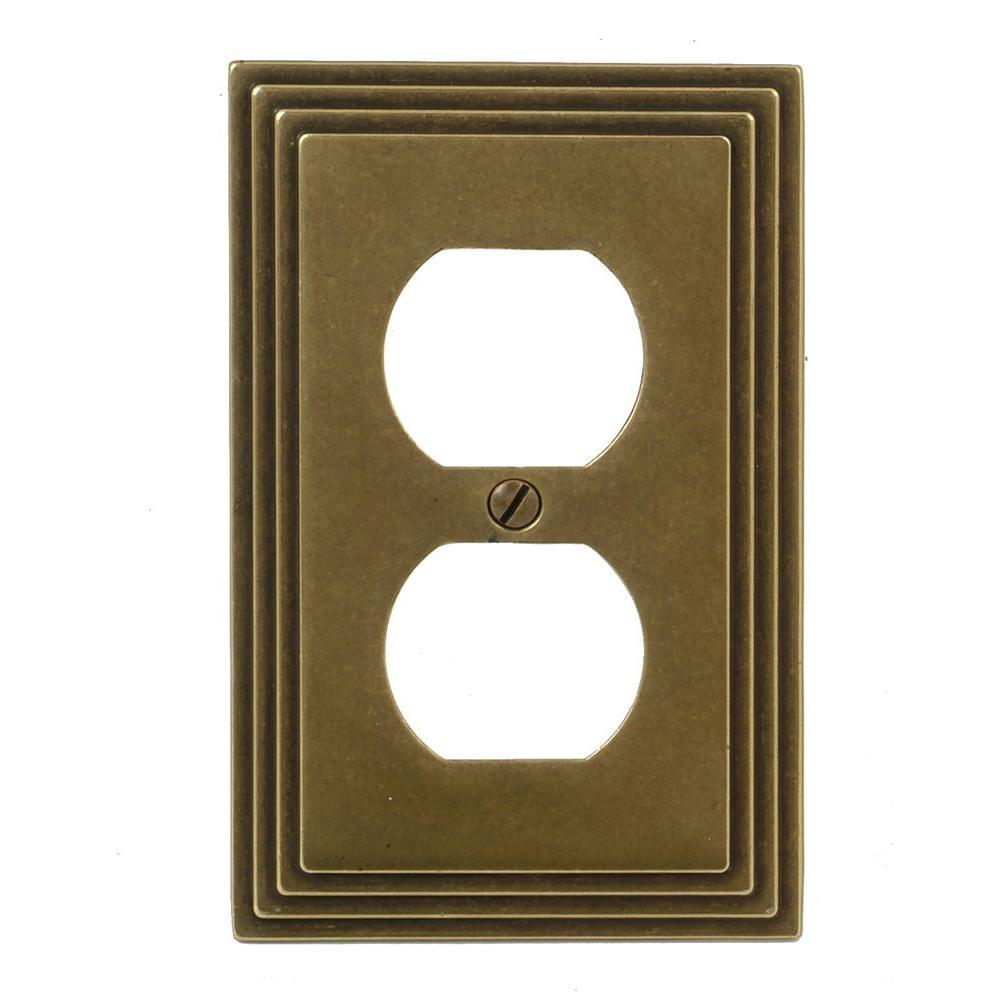 Tiered 1 Gang Duplex Metal Wall Plate - Rustic Brass