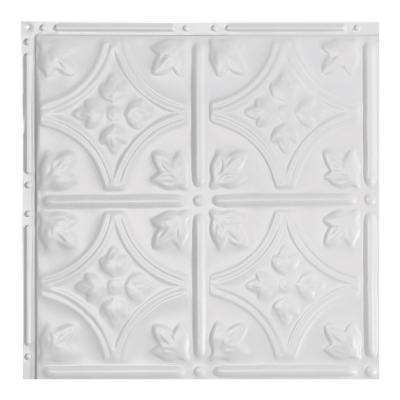 Hamilton Gloss White 12 in. x 12 in. Nail-Up Ceiling Tile Sample